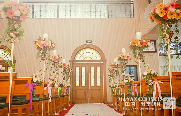 济南教堂婚礼案例_白绿系